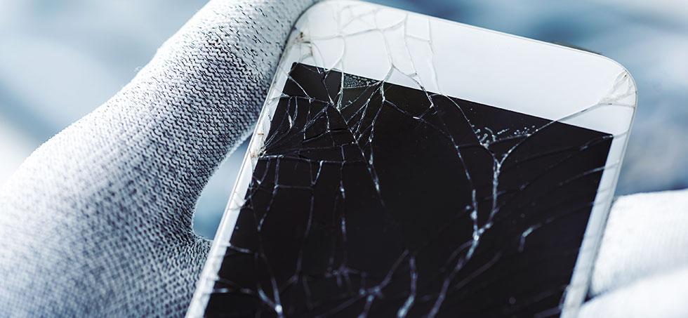 Вид повреждений дисплея iphone от падения